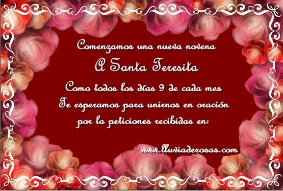 Tarjetas Web De Lluvia De Rosas Invitacion Novena